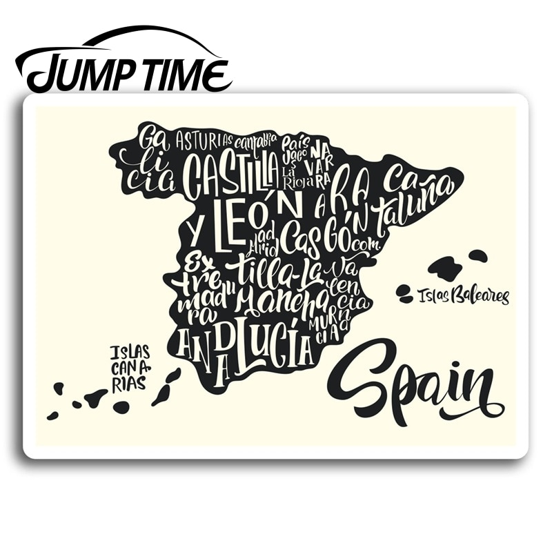 Tiempo de salto para españa mapa español pegatinas de vinilo pegatina equipaje portátil regalo Ventana de camión calcomanía de parachoques accesorios impermeables