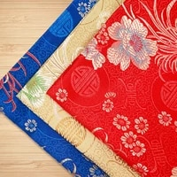 one piece 5075cm chrysanthemum pattern brocade handmade fabric for sewing diy satin dress screens tablecloth handkerchiefs