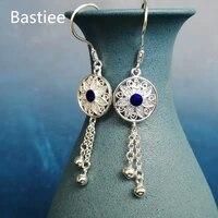 bastiee hmong 999 sterling silver drop blue earrings for women long tassel earings handmade luxury jewelry miao cloisonne enamel
