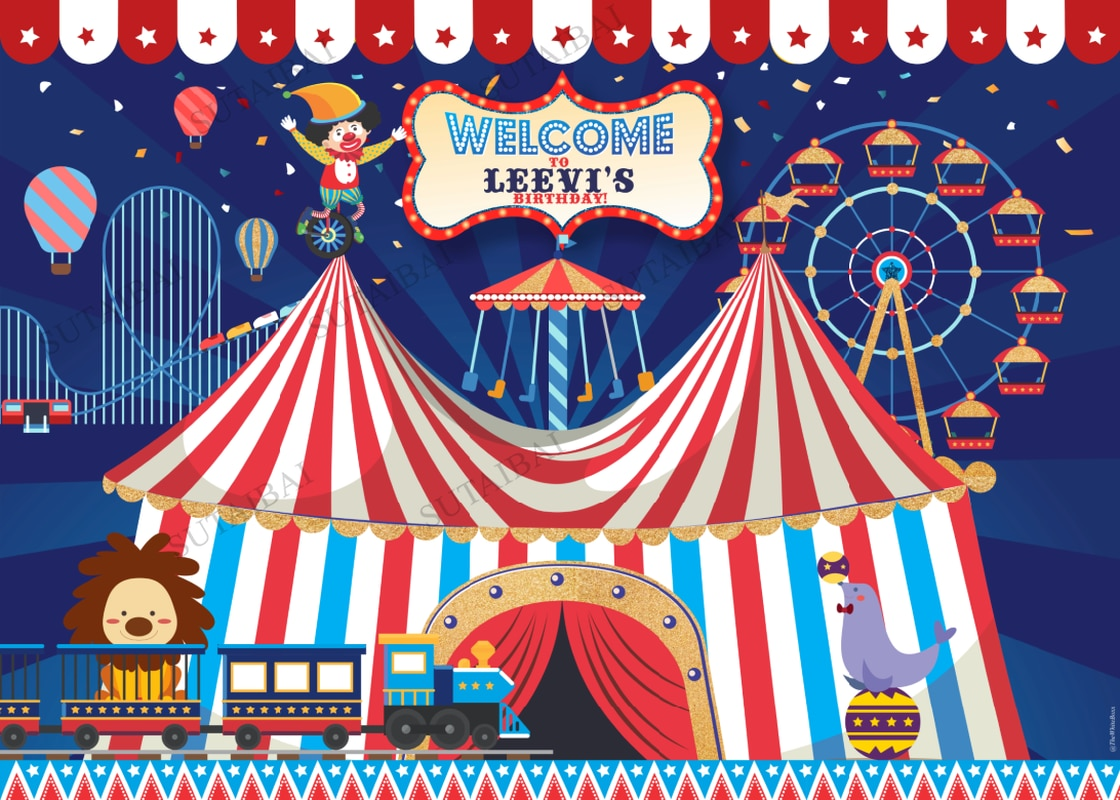 Welcome To Carnival Circo Circus Birthday Party Personalized Custom Photo Backdrop Photography Background Vinyl Studio Booth enlarge