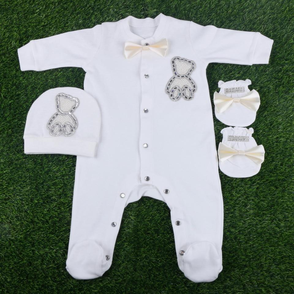 wholesale brand design boy girl newborn lovely cartoot style handmade solid cotton soft footies set gift clothes 5pcs