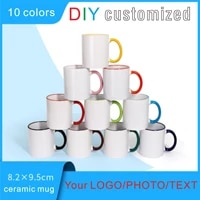 diy ceramic mug color handle cups customize print logo personalize photo picture image text cute gifts for lovers friends family