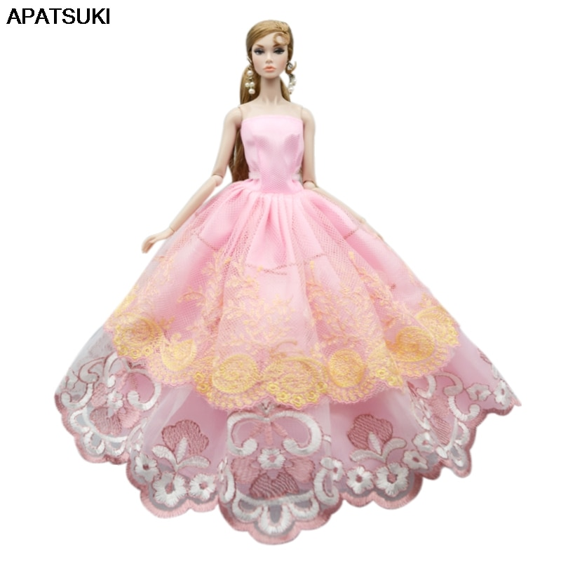 Pink Flower Lace Wedding Dress For Barbie Doll Outfits Clothes Multi-layer Party Gown For 1/6 BJD Dolls Accessories Toys