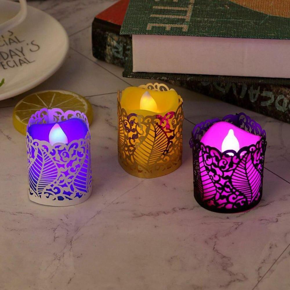 50 piezas de pantalla de vela hueca cubierta decorativa de encaje de papel de té luz de vela soporte de decoración de boda