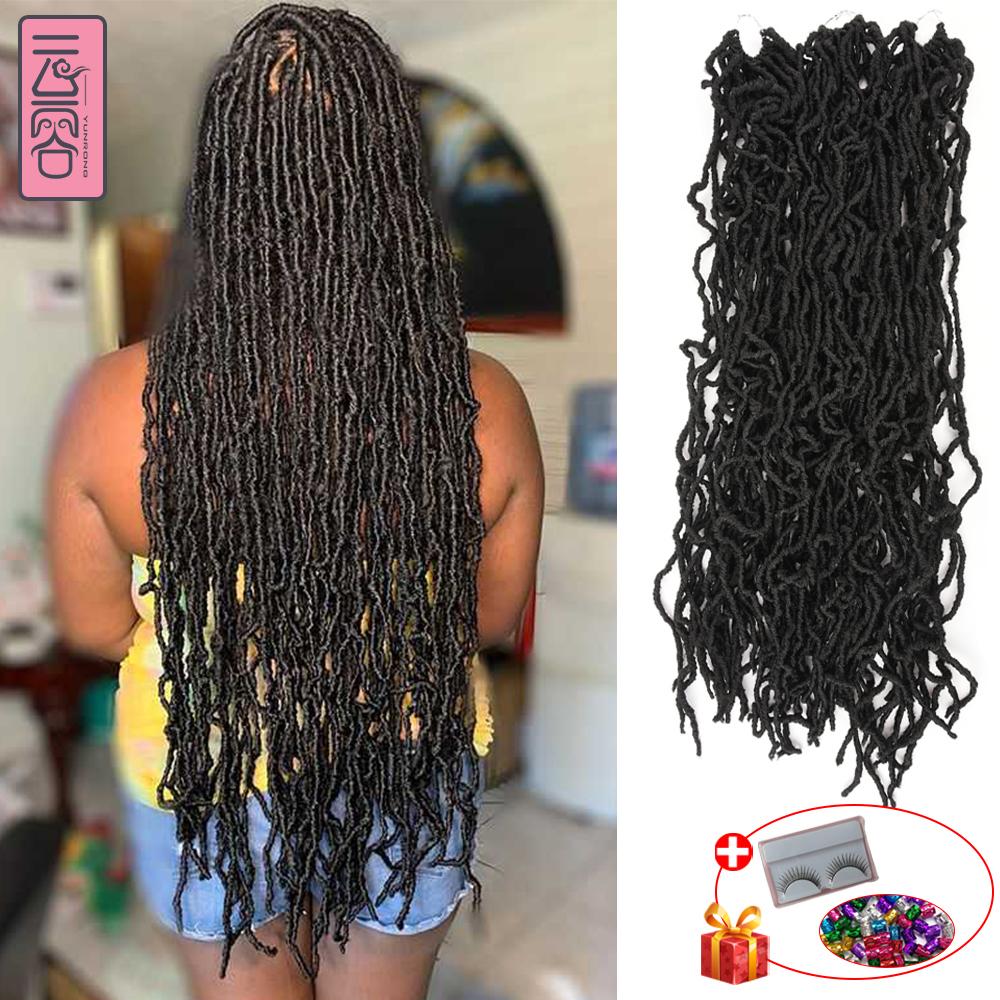YunRong Nu Locs Crochet Hair 36 24 18 Inches Faux Locs Extension Synthetic Soft Goddess Braiding Dreadlocks Hair For Black Women