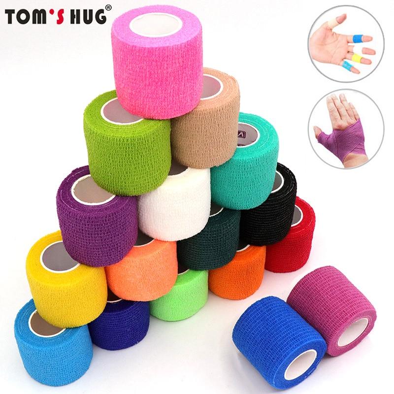 4.5m Colorful Elastoplast Self Adhesive Elastic Bandage Tom's Hug Sports Knee Finger Ankle Palm Shou