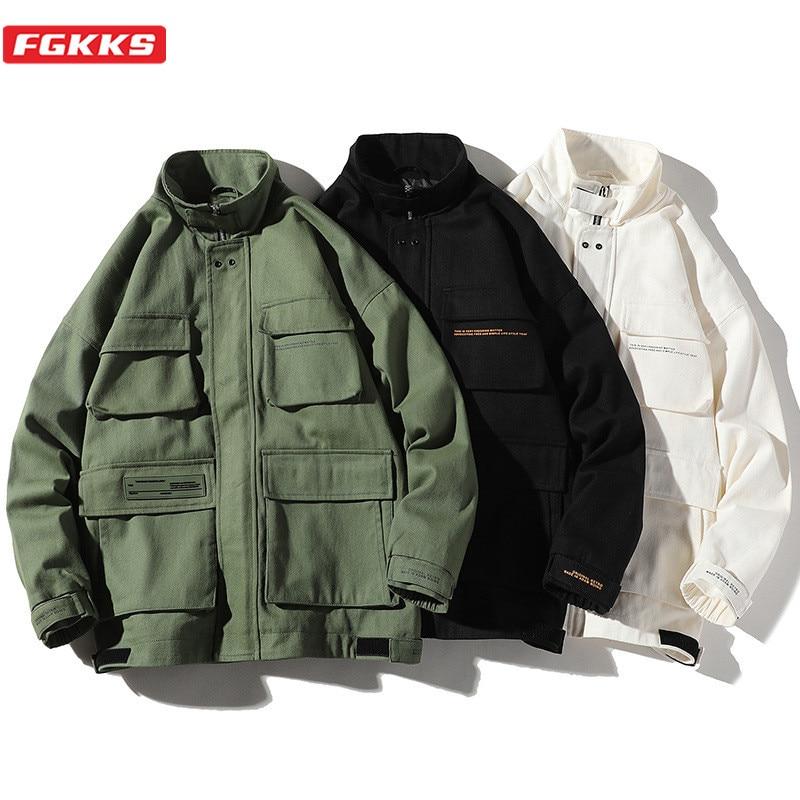 FGKKS hommes vestes 2020 hommes Multi poche veste mode tendance marque Original imperméable tissu Cargo veste mâle
