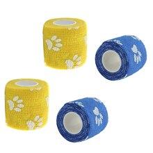 Lot de 4 rouleaux de enveloppements de vétérinaire   Imprimés de patte mignons, enveloppement de bandage pour vétérinaire, ruban étanche et auto-adhésif, bleu/jaune