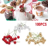 50100pcs artificial berry vivid red holly berry berries home garland simulation plant wedding garden decoration freeshipping