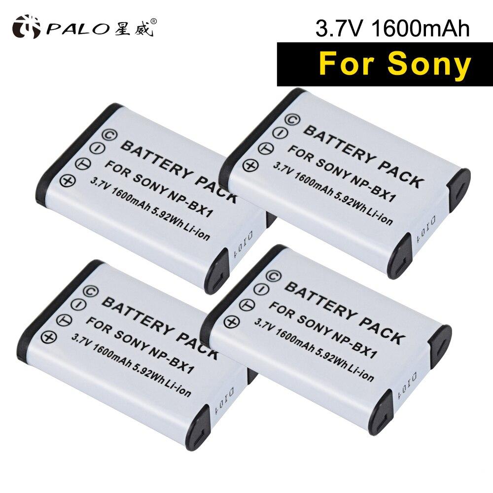 Palo 4 peças de NP-BX1 baterias digitais 1600mah, np bx1 bateria de câmera para sony as15 30v wx350 gep 88e as100v as200v hx90 60 50 cx40