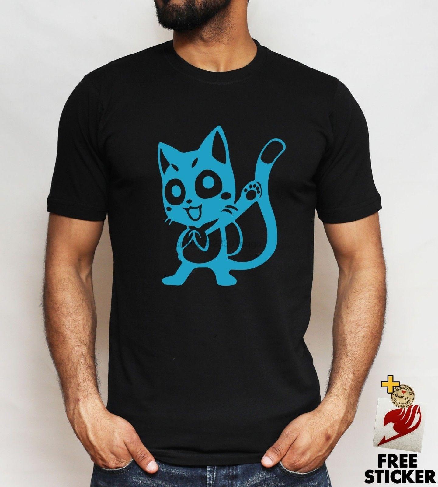 Fairytail feliz camiseta Natsu Lucy Erza gris Anime Manga t negro blanco Unisex camiseta de Hip Hop verano hombres moda camiseta