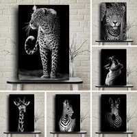 nordic wildlife animal black white lion canvas painting posters and prints zebra wall art pictures for living room home decor