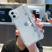 Custom Name Phone Case For iPhone 11 12 Mini Pro Max X XS XR SE 6 6S 7 8 Plus Love heart line Transp