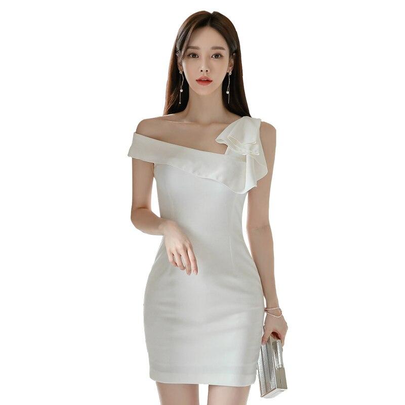 Vestido de encaje blanco para mujer verano un hombro volante sin mangas poliéster señoras Sexy fiesta de una pieza Bodycon vestidos