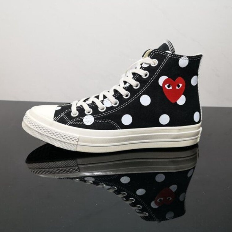 Conve Co-Branded CDG Play High And Low Polka Dot Love Canvas Shoes
