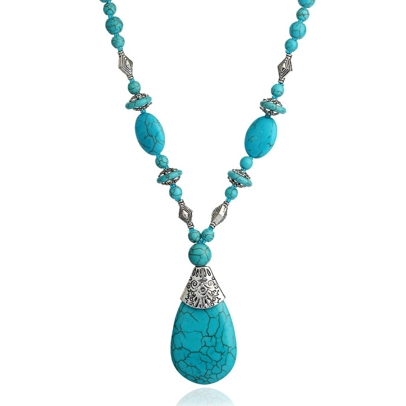 Bohemian Vintage Blue Stone Water Drop Pendant Necklaces Women Indian Boho Stone Bead Strand Necklace