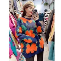 three dimensional flowers sweater female qiu dong han edition in outer wear western style sweater coat