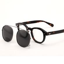 Johnny Depp Glasses men Clip On Sunglasses Polarized Lens women Brand Vintage Acetate Glasses Frame