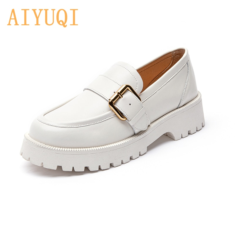 Women Shoes Genuine Leather 2021 Spring New British Style Thick-soled Pedal Shoes Female College Sty