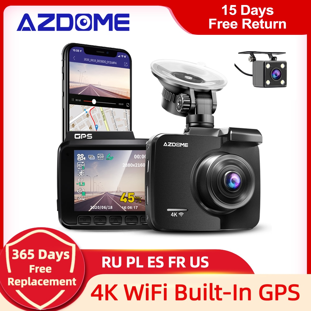AliExpress - AZDOME GS63H Dash Cam Dual Lens 4K UHD Recording Car Camera DVR Night Vision WDR Built-In GPS Wi-Fi G-Sensor Motion Detection