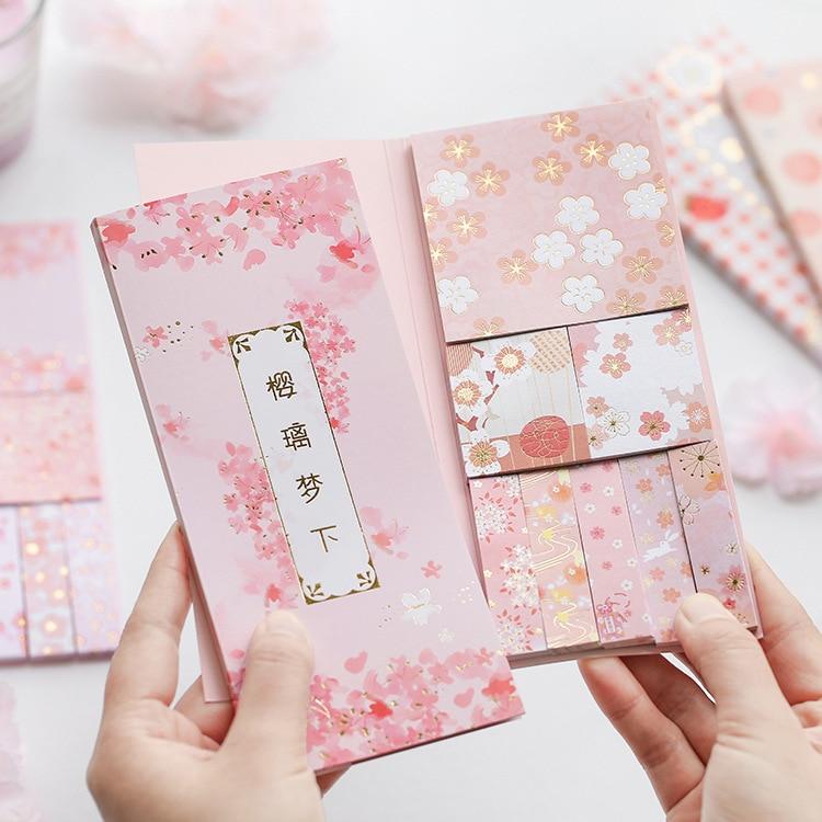 240 unids/set Kawaii Bloc de notas japonés Sakura Rosa cereza fresa Rosa Bloc de notas diario Bloc de notas papelería escolar