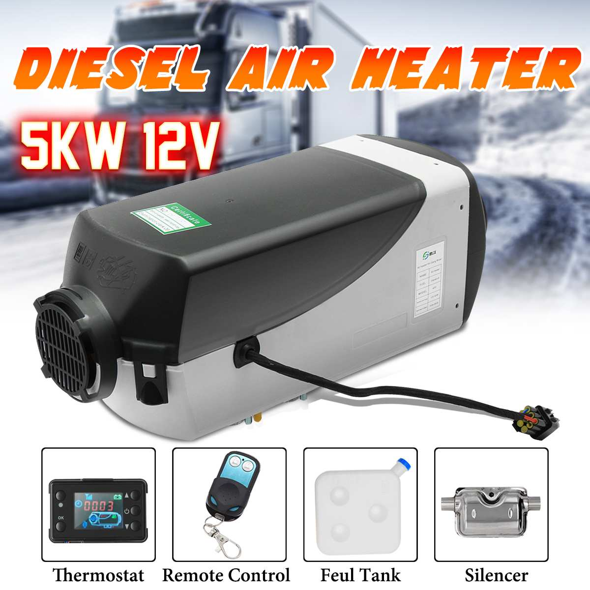 5kw 12 v diesels aquecedor de ar aquecedor de estacionamento com controle remoto monitor lcd carro aquecedor silenciador para livre