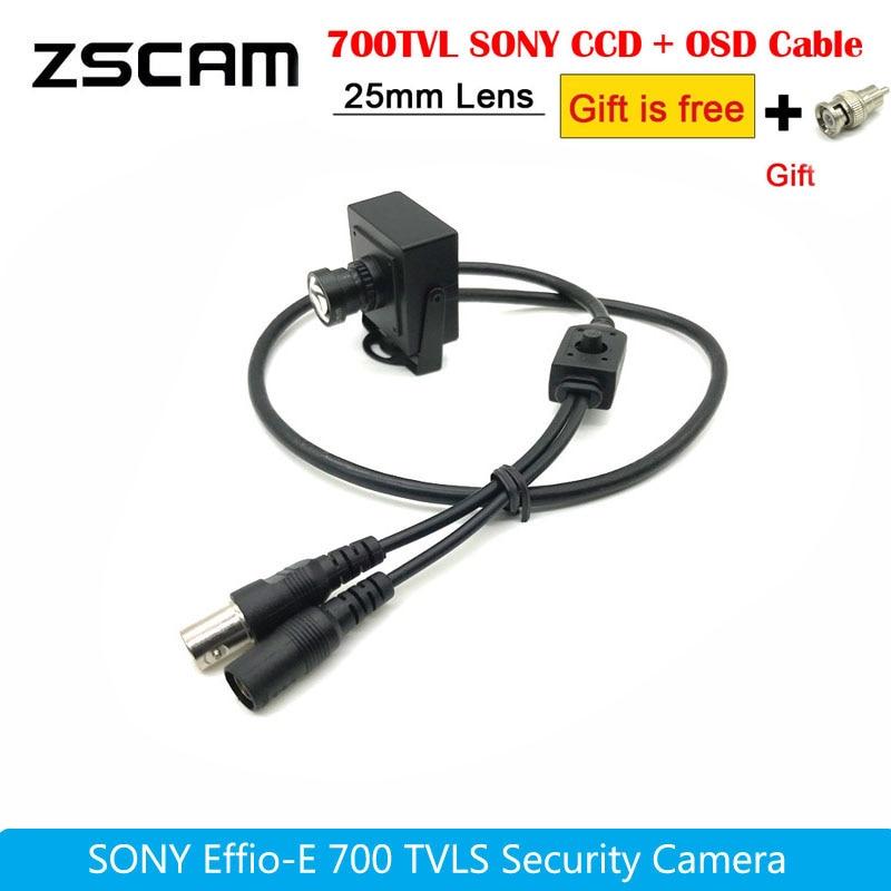 Мини-камера видеонаблюдения, автомобильная камера высокого разрешения Sony CCD Effio-E 700TVL, объектив 25 мм, цветная Проводная камера OSD