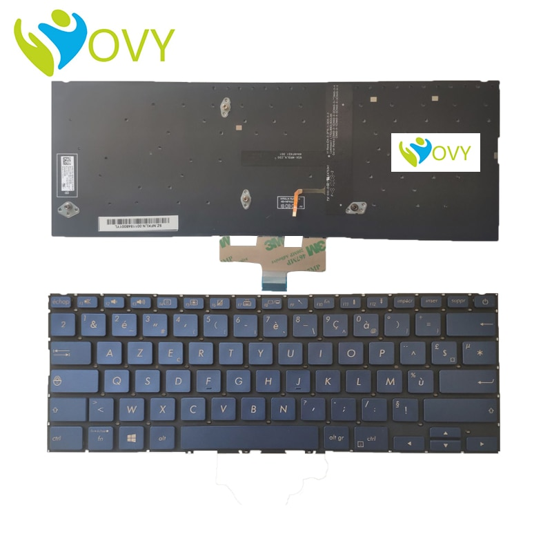 Navio rápido ovy fr teclado do portátil francês para asus ux433 com retroiluminado p/n 0knb0-262qfr00 0kn1-5z1fr23 kb