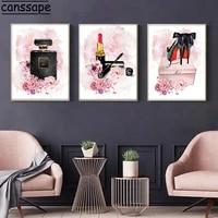 Rose fleur parfum imprime maquillage toile affiche peintures rouge a levres talons hauts Vogue imprimer affiches mode photo decor a la maison