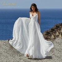 simple spaghetti straps wedding dress a line v neck sleeveless floor length backless beads applique draped vestidos de novia