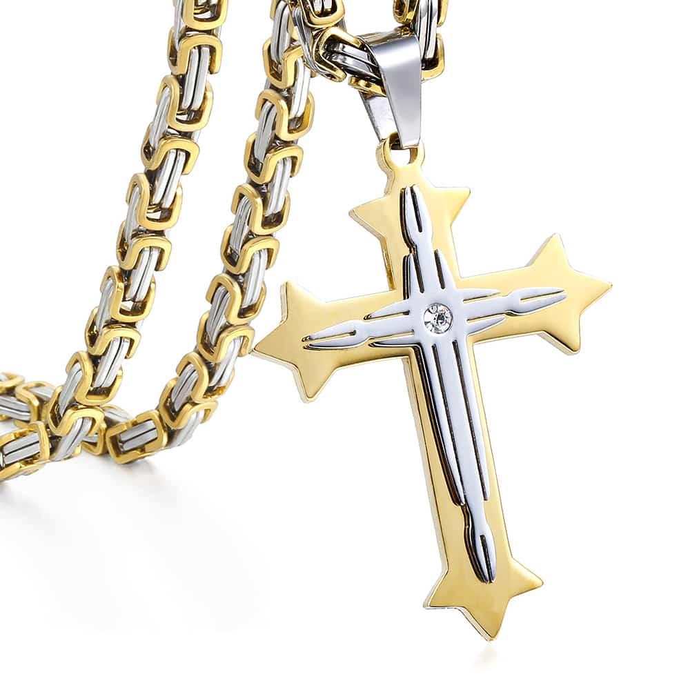 Cruz pingente colares para homens de aço inoxidável ouro preto prata cor bizantina corrente colar hip hop masculino jóias presente kp02