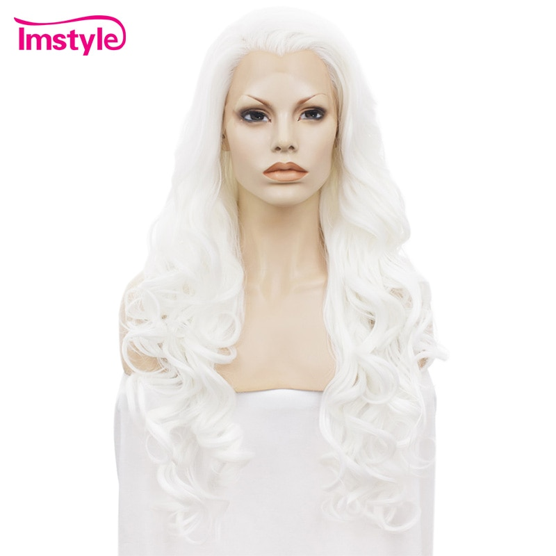 Imstyle White Wigs For Women Synthetic Lace Front Wig Wavy Long Natural Hairline Wig Heat Resistant Fiber Glueless Cosplay Wig