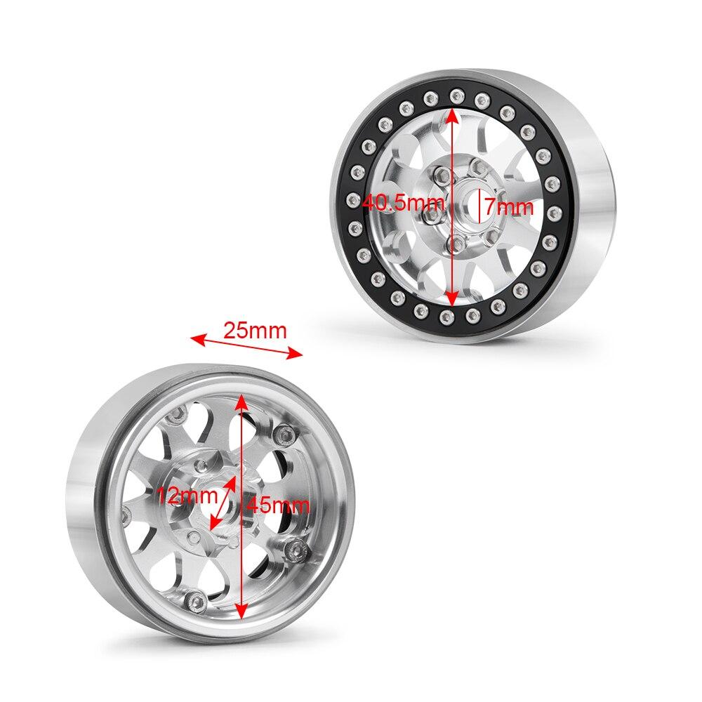 1:10 1.9inch RC Beadlock Wheel Rims Alloy Metal Wheel Hubs for 1/10 Axial SCX10 90046 RC Rock Crawler Car Parts enlarge