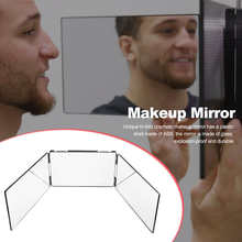 Makeup Mirror Trifold Foldable 360 Degree Bathroom Rear View Height Adjustable Self Cutting Styling Shaving Cosmetic Tool Shower