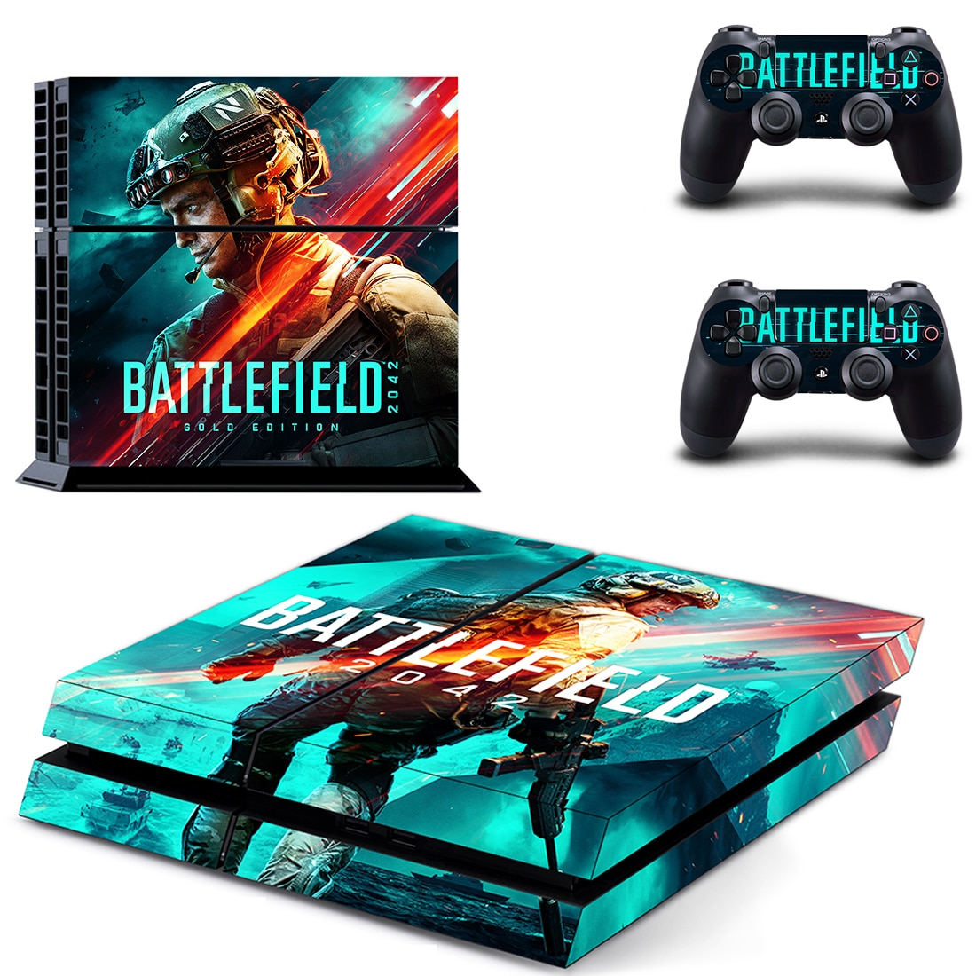 Battlefield 2042 PS4 Stickers Decals Cover For PlayStation 4 PS4 Console and Controller Skins Vinyl