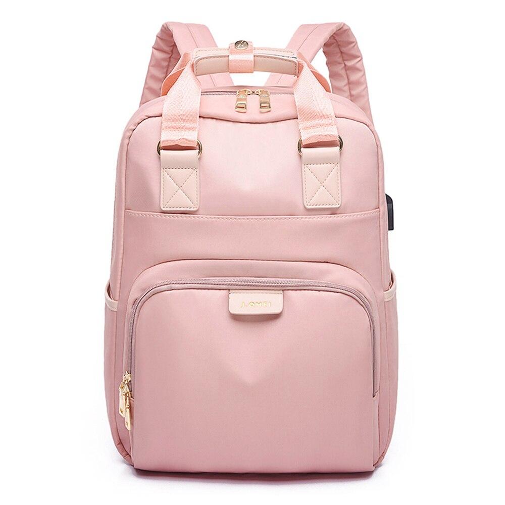 Mochila de ordenador para mujer, mochila impermeable, mochila escolar, mochila rosa con carga USB para adolescentes girls13,3 14 15,6