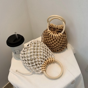 2020 New Women Small Bags Hand Knitting Bamboo Design Handbag Korean Hollow Out Ladies Shoulder Bag Personalized Crossbody Bag
