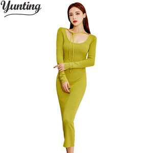 New Women Single-breasted Knitted Sheath Dresses Office Bodycon Pencil Dress Elegant Slim Simple Bottoming Vestidos