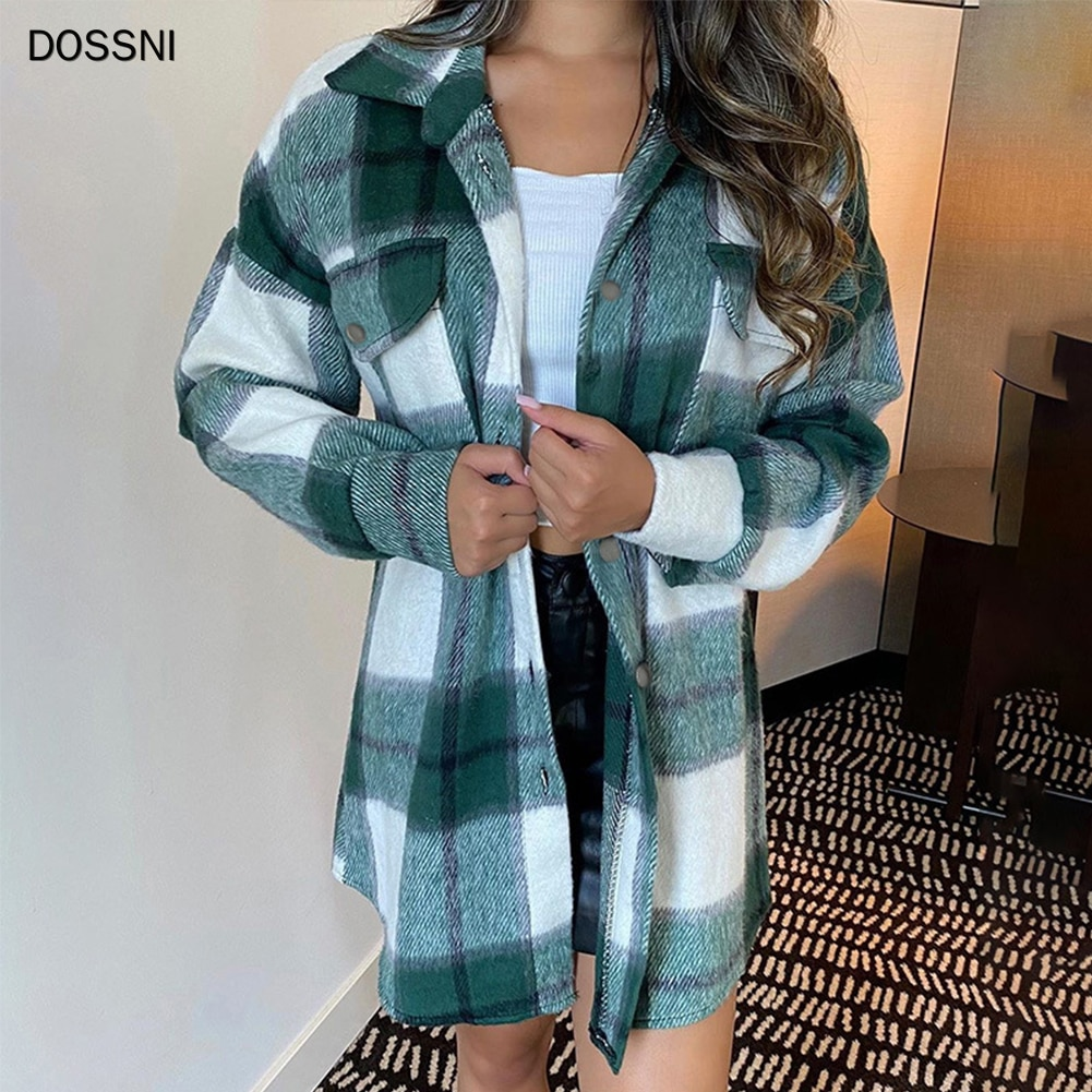 DOSSNI Plaid Overshirt Wool Blend Jacket Check Lapel Collar Long Sleeve Coat Women Oversized Pockets With Flaps Button Tops snap button hooded drop shoulder wool blend coat