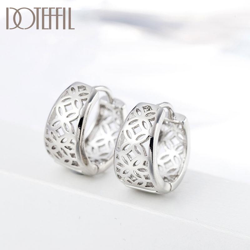 AliExpress - DOTEFFIL 925 Sterling Silver Hollow Pattern Gold Earrings For Women Jewelry Cute Romantic Jewelry Wedding Party Gift