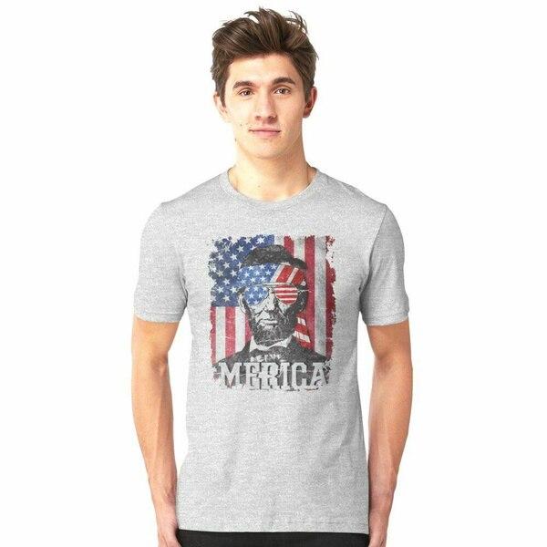 Divertido américa Abraham Lincoln gris camiseta, regalo de los hombres de algodón...