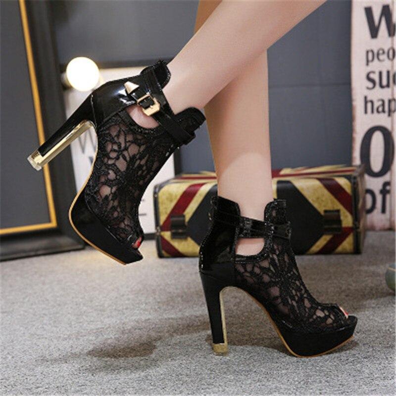 ¡Verano! Botas sandalias tobilleras de encaje con agujeros de malla para mujer, zapatos de tacón alto para mujer, zapatos de gladiadores para mujer, sandalias sexis con boca de pez Eu 35-42