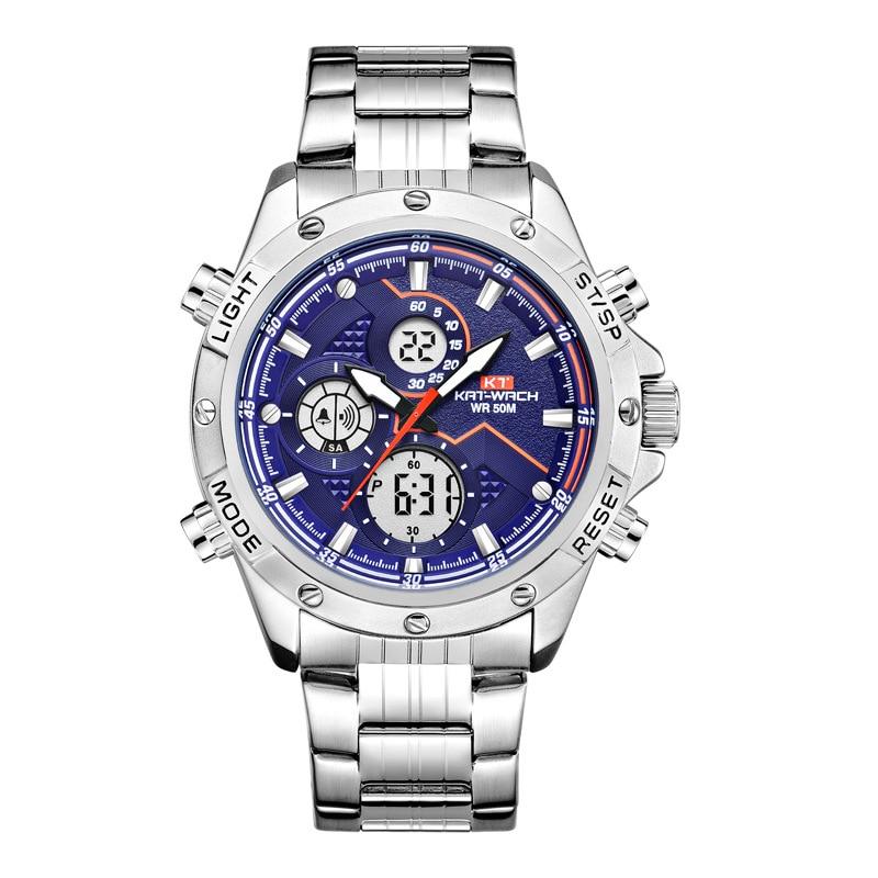 Kt1805 Double Machine Core Function Electronic Shi Ying Watch Luminous Alloy Steel Belt Waterproof Watch Male