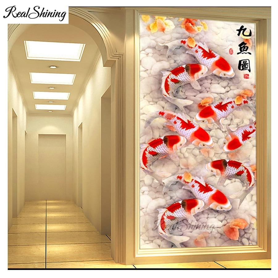 Large size 5D Round Diamond Painting Chinese Nine Koi Fish Full Square Round Embroidery Mosaic Cross Stitch Handmade Giftd F124