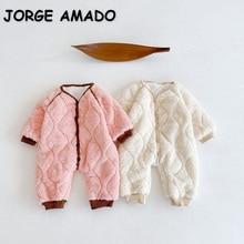 2021 Ins New Winter Baby Girls Boys Romper Fleece Long Sleeves Thick Fleece Pullover Jumpsuit Kids O