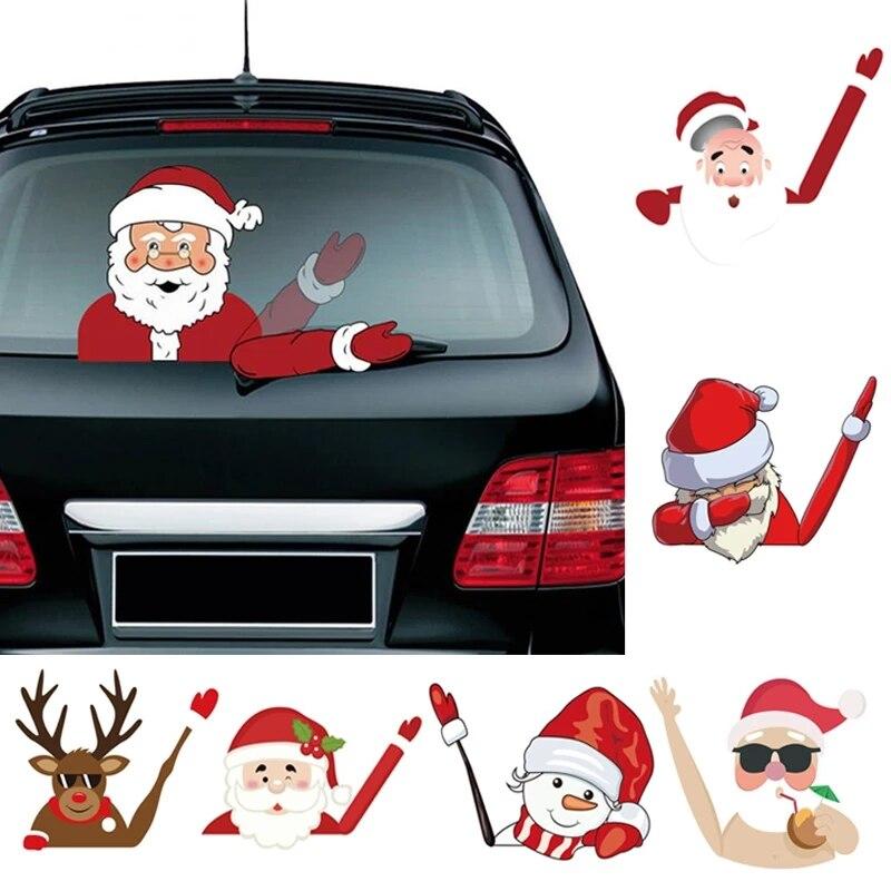 Рождественское украшение, Санта-Клаус, 3D ПВХ машущие автомобильные наклейки, Стайлинг окна, заднее ветровое стекло, Декор