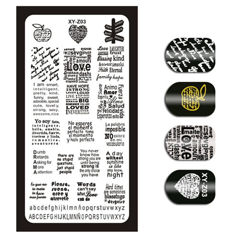 1 Piece Nail Art Image Stamp Stamping Plates English Letter Pattern Manicure Template Plates DIY Polish Stencil Nail Tools XYZ03 1pcs black flower lace nail stamping plates stainless steel nail art stamp template manicure tools uv gel nails art decorations