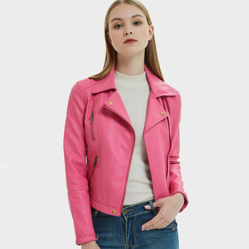 Женская кожаная куртка, короткая облегающая байкерская куртка из искусственной кожи с отворотом, Корейская короткая розовая куртка в стиле...