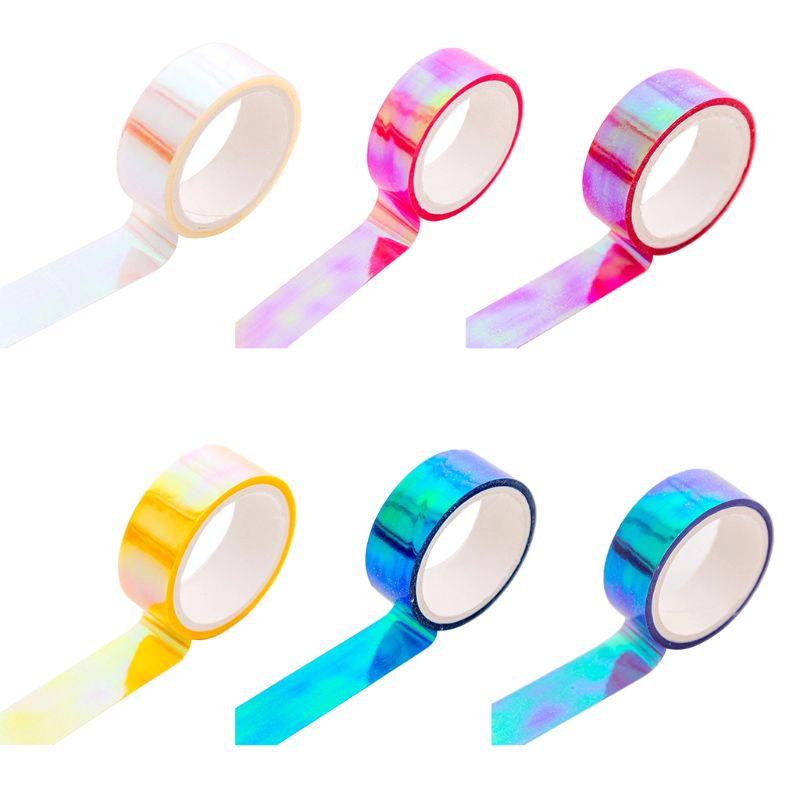 Glitter Laser Íris Washi Tape Scrapbooking Papelaria Decorativa Fitas Adesivas Fita Adesiva DIY