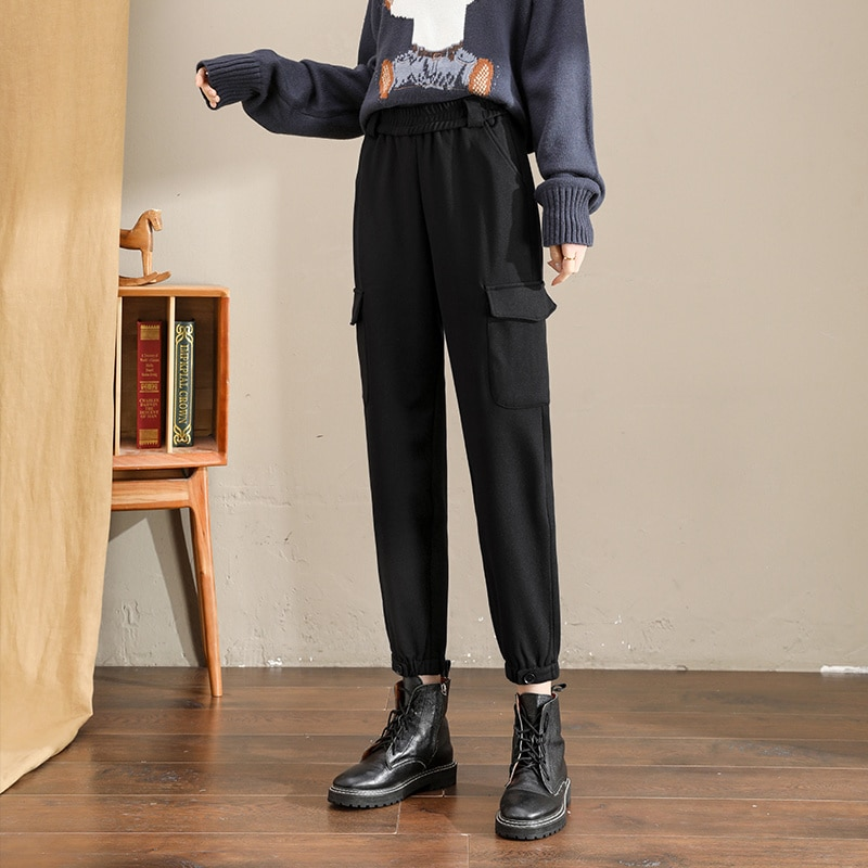 2021 Spring Autumn Winter Women's Pants Handsome Straight Winter Ankle Banded Working Pants Women's